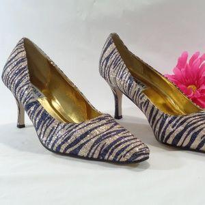 NEW, Blue Gold Zebra Stripe Low Heel Pump Size 13W
